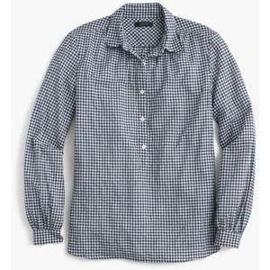 J. Crew Gathered Popover Shirt Microgingham